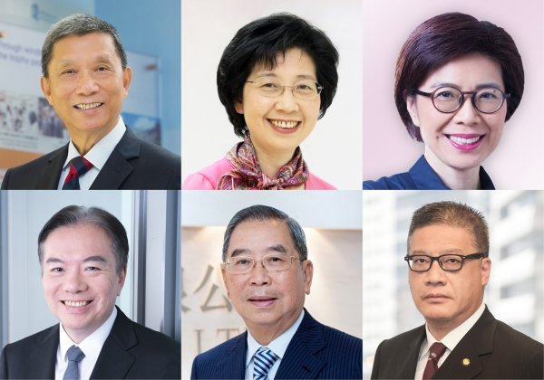 (Clockwise from left top) Mr Cheng Sing-yip, Dr Polly Cheung Suk-yee, Ms Quince Chong Wai-yan, Mr Francis Law Sau-fai, Mr Tsang Wing-wah, and Dr David Wong Yau-kar