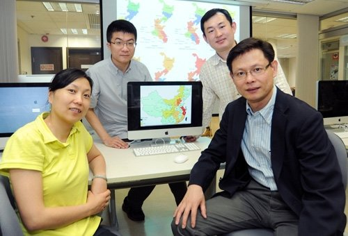 (front row, from left) Dr. Yang Guojing; Professor Liu Jiming; (back row, from left) Mr. Xia Shang and Dr. Shi Benyun