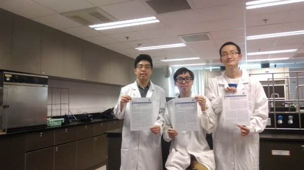 Final year students (from left) Tse Ho-yin, Chan Sing-ming and Liu Zhengzhi show dedication towards their projects; and their co-authored papers are considered significant to chemistry, as well as to analytical and testing sciences.