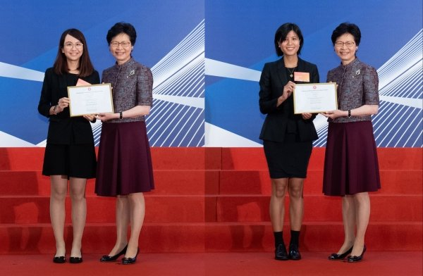 (Left) Olivia Kwok and Ada Lee receive their awards from Chief Executive of Hong Kong Mrs Carrie Lam respectively