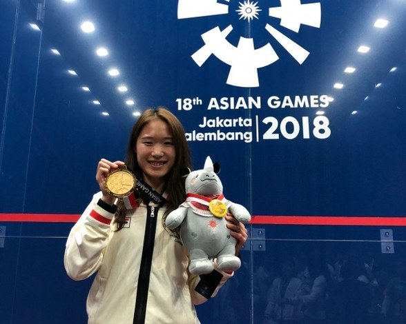 Chan Ho-ling earns a gold medal in women's squash team event