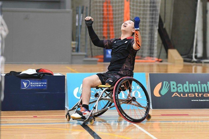 Daniel Chan clinches a gold medal at the Australia Para-Badminton International competition.