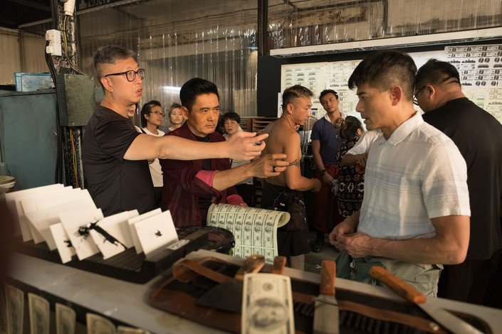 Mr Felix Chong (left) directing his movie Project Gutenberg