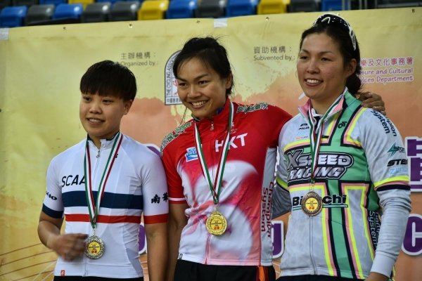 Sarah Lee (centre) clinches two gold medals in the Hong Kong Track Cycling National Championships