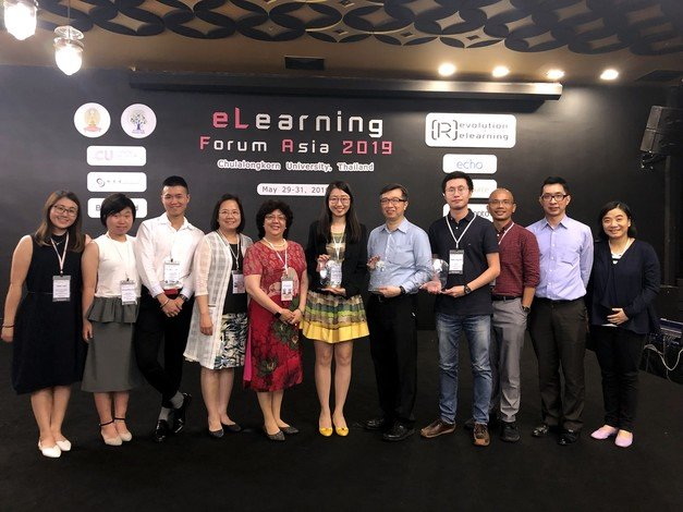 A delegation of HKBU colleagues receives a number of awards at the eLFA 2019 Conference in Thailand.