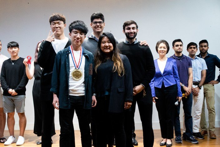 "(Front row left) Frankie Wong and his ""Smart Drug"" team came first in the Bootcamp competition."