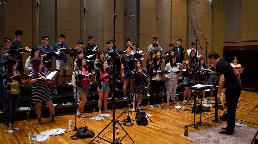 Members of Cantoría Hong Kong record their first commercial CD at a professional music studio in Bangkok.