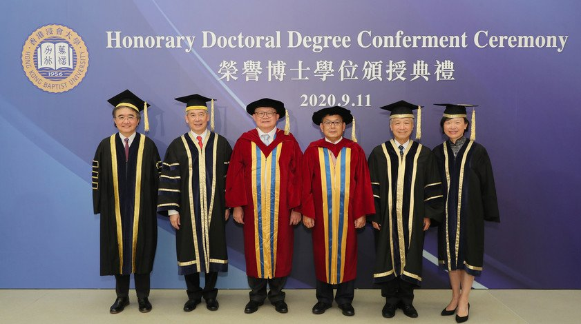 At HKBU's 2019 Honorary Doctoral Degree Conferment Ceremony: (from left) HKBU President Professor Roland Chin, HKBU Council and Court Chairman Dr Clement Chen, Dr Cheng Yan-kee, Dr Yim Yuk-lun, HKBU Council and Court Deputy Chairman Mr Paul Poon and HKBU Council and Court Treasurer Ms Rosanna Choi.
