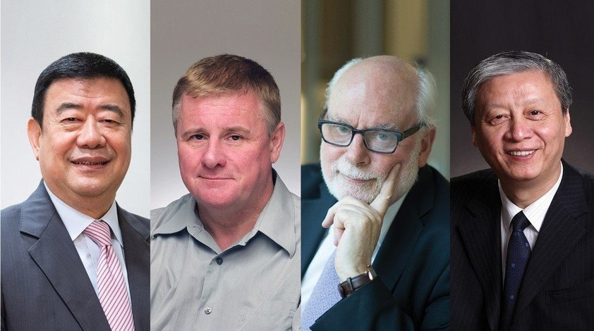 Honorary doctoral degree recipients who are conferred online or in absentia include (from left) Dr Liu Chak-wan, Professor Jeremy K Nicholson and Professor Sir Fraser Stoddart and Professor Zhong Binglin.