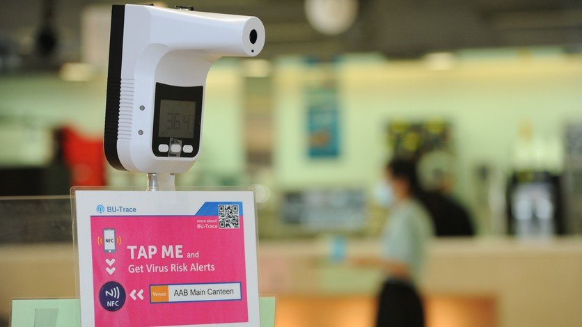 HKBU's COVID-19 alert system integrates AI technology and uses NFC tags to facilitate logging of check-in and checkout times at venues.