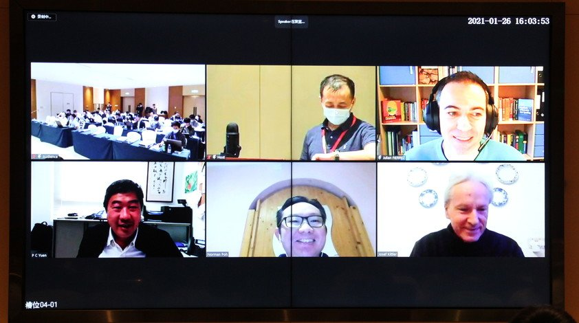 Professor Yuen Pong-chi (bottom left), Chair Professor of the Department of Computer Science, shares biometrics' latest development with experts from all over the world.
