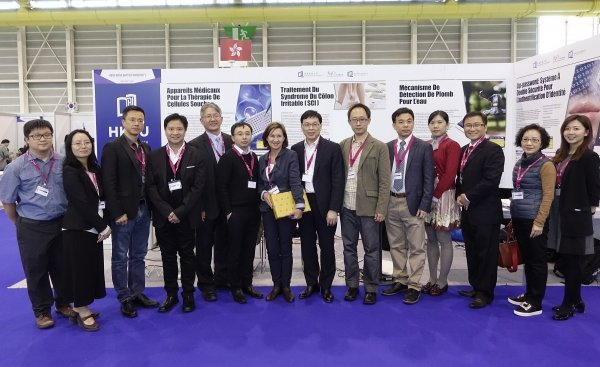 The HKBU winning teams: Dr Jeffery Huang (third from left), Professor Ken Yung (fourth from left), Professor Bian Zhaoxiang (fifth from left), Professor Cheung Yiu-ming (fifth from right), Dr Ren Kangning (sixth from right), with HKBU Vice-President (Research and Development) Professor Rick Wong (seventh from right) and Head of Knowledge Transfer Office Dr Alfred Tan (third from right)