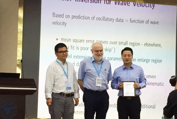 The distinguished contribution made by Dr Liu Hongyu (right) to inverse problems is recognised at the international level.