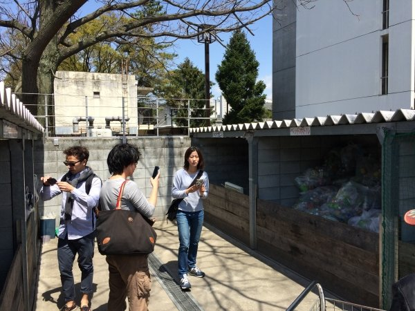 Students see the waste recycling system in Japan.