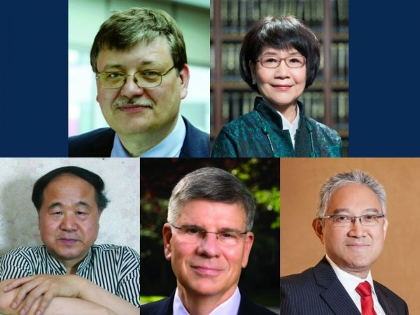 HKBU will confer honorary doctoral degrees on (clockwise from left top): Professor Donal Bradley, Mrs Pamela Chan, Dr William Fung, Professor William Kirby and Professor Mo Yan.