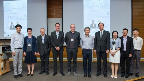 HKBU invites distinguished speakers Professor Oliver Wilhelm (5th from left) and Professor Patrick Kyllonen (4th from left) to share their insights towards creativity